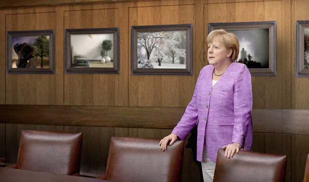 Angela Merkel during a meeting. Source: Elle UK