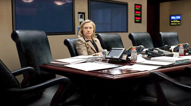 Hillary Clinton in a meeting room. Source: Elle UK