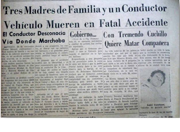 Press article about the death of the Mirabal sisters
